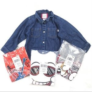 Graphic Tees + GAP Denim Shirt Size 18-24M